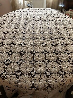Fabulous Vintage Hand Made Crochet Lace Tablecloth