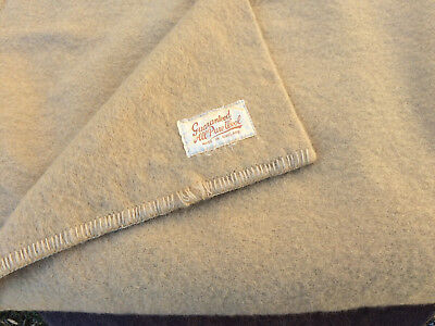 Vtg Wool Blanket Made In England 71X88 Sand Color Soft!