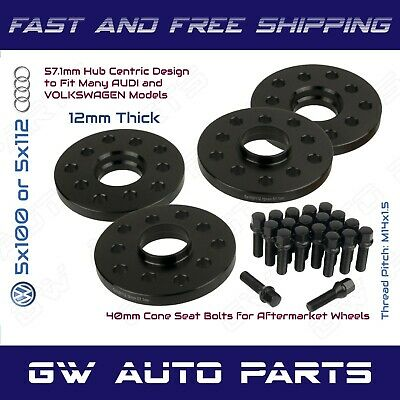 Audi A4 12mm Spacer Wheel Spacer Kit 57.1mm CB 5x100  5x112 Inc Bolts
