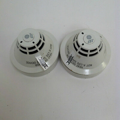 LOT OF 2 EST Edwards SIGA-HRS Intelligent Heat Detector Fire Alarm Head w/ Base