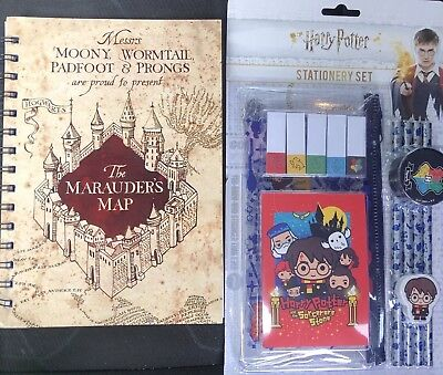 Harry Potter Stationery Set And Marauders Map Note Book  - Officially Licensed