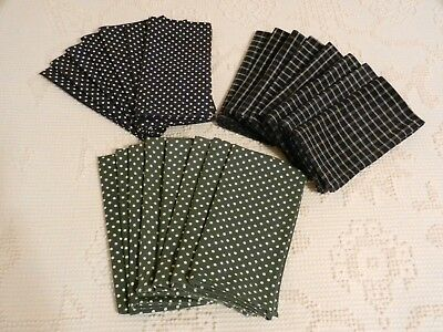 Vintage Lot of 23 Cloth Napkins 7 Blue Polka Dots 8 Green Dots 8 Blue Checkered