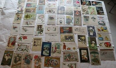 Lot of 63 Antique Christmas, Thanksgiving and Easter Postcards with SANTAs