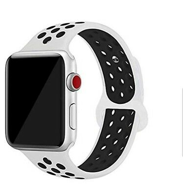 Apple Watch Band 42mm White Black Silicone NEW replacement