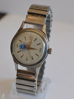 Vintage Men's Lions International 17 Jewel Ajax Watch, Tested Timed Working, Exc