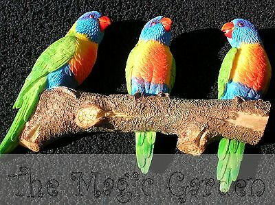 3 Rainbow lorrikeets on a branch cement plaster latex moulds molds
