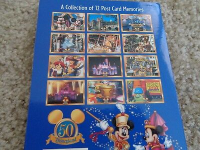 12 OVERSIZED various postcards of Disneyland's 50th Bday w/collector jacket