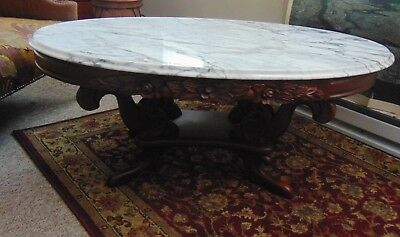 Vintage Victorian Mahogany Marble Top Coffee Table-Rose Carved