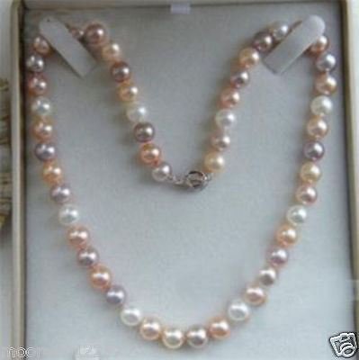"""7-8mm Genuine natural white Pink purple Freshwater pearl Necklace 18"""""""