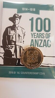 """Lot 1 2018 $1 One Dollar 100 Years of ANZAC Coin Albany WA """"AL"""" Counterstamp"""