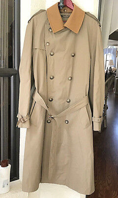 Brooks Brothers Khaki Trench Coat  Belted  Removable Collar  40L Mens NO LINING