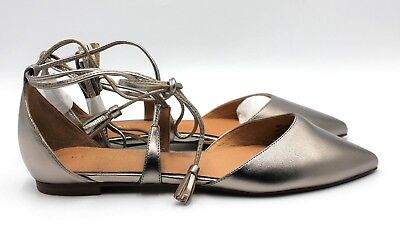 877ed7a4d13 HALOGEN Oliver Women s Ankle Wrap Flat - Pewter Leather - Size 6 - NEW  Authentic
