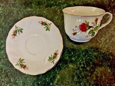 Lynn's Fine China Victorian Rose Pattern Tea Cup and Saucer