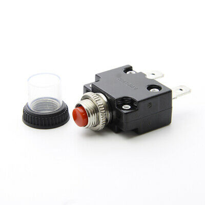 10 Amp Reset Circuit Breaker Thermal Fuse Push Red Button AC DC Clear Rubber Cap