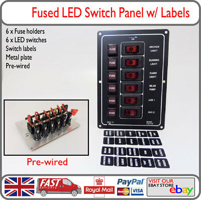 marine 6 gang way ip65 fuse switch panel 12v black metal red led boat yacht  rib