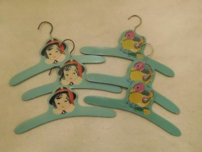 Lot of 6 Vintage 1930's Children's Wooden Hangers 3 Ducks 3 Boy Green