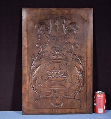 *French Antique Hand Carved Architectural Panel Walnut Wood Salvage