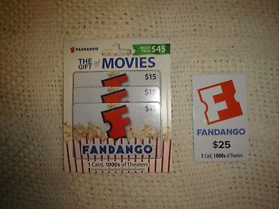 Fandago Gift Card lot of 4 $70 Brand New 3X $15 1X $25 FREE SHIPPING