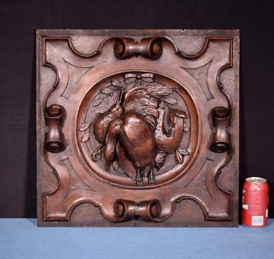 *Antique Italian Hunting Style Carved Panel in Solid Pine Wood w/Birds Salvage