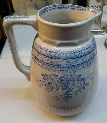 Blue Transferware 6 1/2 Inch Pitcher / Floral / Unmarked