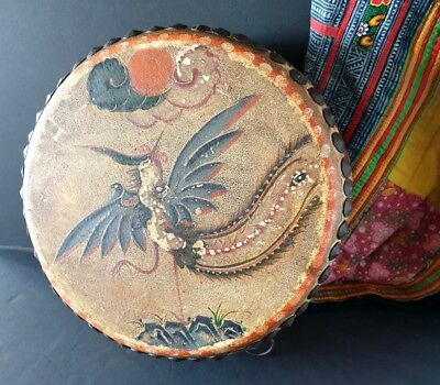 Old Borneo Tribal Drum from World War II …beautifully hand painted