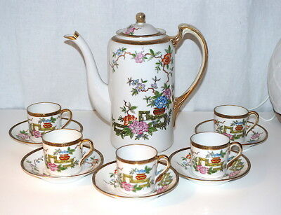 Antique Nippon Porcelain Hand Painted Chocolate Set; Pot, Cups and Saucers
