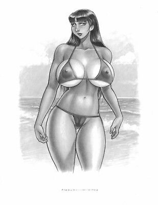 MARY JANE at the Beach finished original art by VICTOR RINALDI