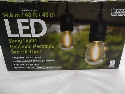 Feit Outdoor Weatherproof String Light Set 48ft 24 Light Sockets w/ 26 LED Bulbs