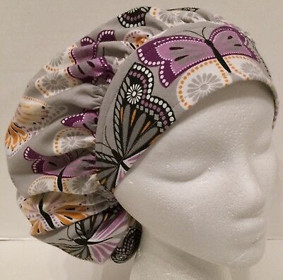 Flannel Butterfly Print Size Large Medical Bouffant Scrub Cap Surgery Hat
