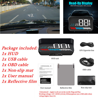 HUD USB OBD GPS Universal Car Windshield Speed Projector MPH Instrument Black