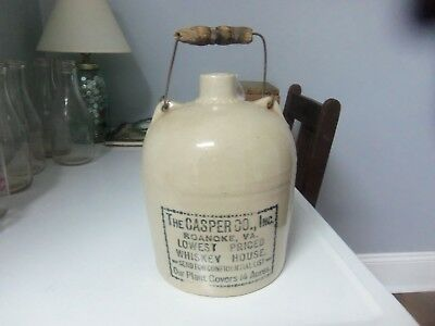 Antique / Vintage Stoneware Jug Casper Co Whiskey House Roanoke Va with Handle