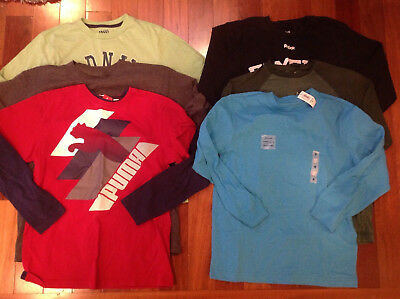 Lot of 6 Boys Shirts Size Medium 8-10 Long Sleeve Tees