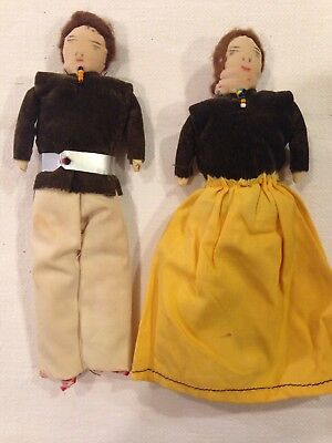 Primitive Hand Made Cloth Dolls Man And Woman