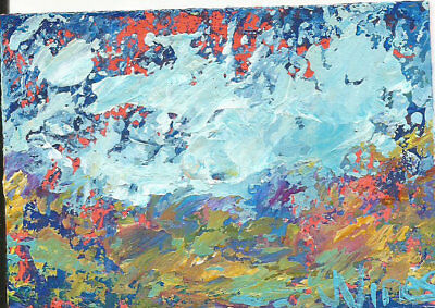 Original Abstract Acrylic Knife Landscape Painting ACEO ART Card mini small SFA