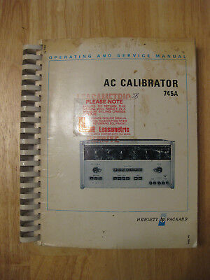 Hewlett Packard HP 745A AC Calibrator Operating and Service Manual 00745-90002