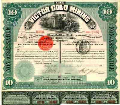 1895 Victor Gold Mining Stock Certificate