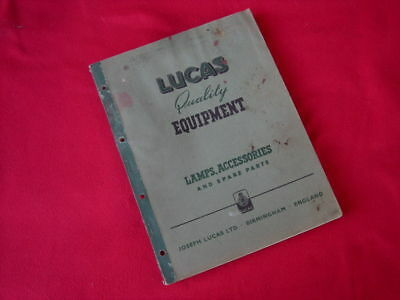 Vintage LUCAS Lamps, Accessories Parts CATALOGUE, 1950-Jaguar, MG, Austin, Holde