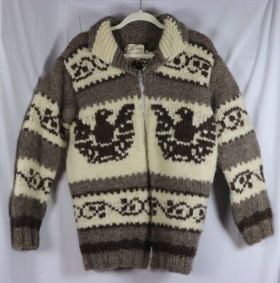 Genuine Cowichan Native Canada Indian  Handmade Wool Sweater Vintage Numbered L