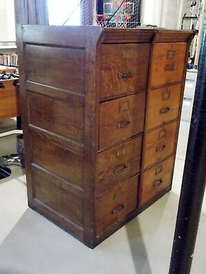 Early 1900's Art Deco 2-Section, 8-Drawer (2 ea x4) Shannon Wood Filing Cabinets