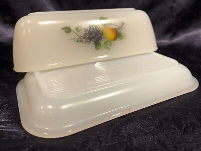 Vintage Retro JG Durand ARCOPAL; Fruits-of-France Lidded Glass Refrigerator Dish