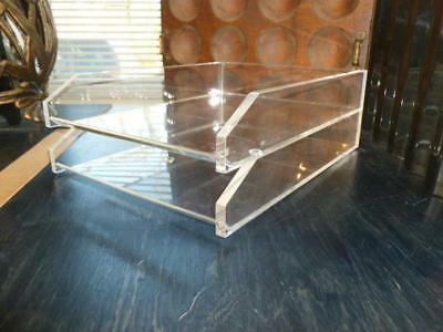 2 Desk Tray Modern Clear Acrylic Lucite Minimalist Letter Paper In/Out Holder