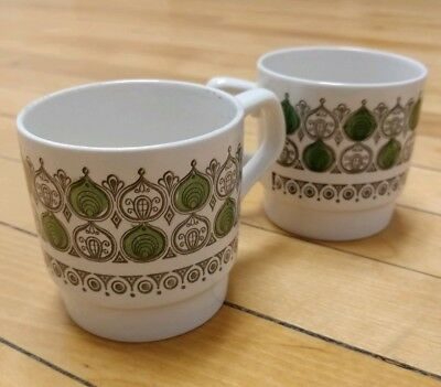 Vintage Retro Mid Century Coffee or Tea Cups White and Green Patterns Pair