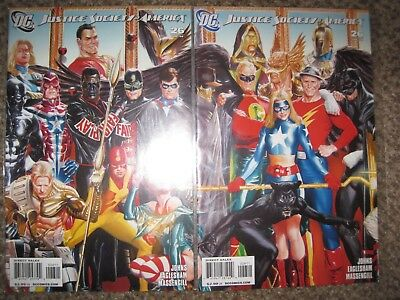 Lot 2 Justice Society Of America 26 Variant & Reg Connecting Alex Ross Covers