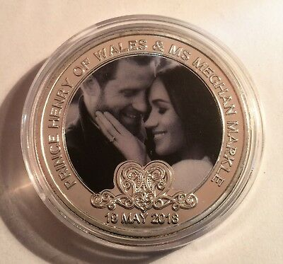 Harry and Meghan Wedding coin colour Printed 999 Silver plated 19/5/18