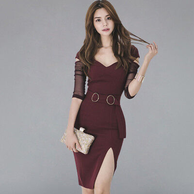 Sexy Bodycon Dress Women See Through Split Pencil Dresses Sheath Fitted Office