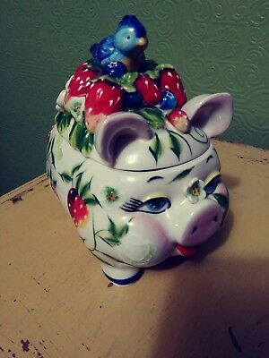 J. McCall Pig & Bluebird Strawberry Jam Jar 2004 By Blue Sky MISSING SPOON