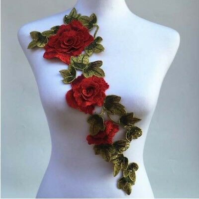 1x Lace Collar Neckline Collar 3D Floral Embroidery Lace Applique DIY Sewing