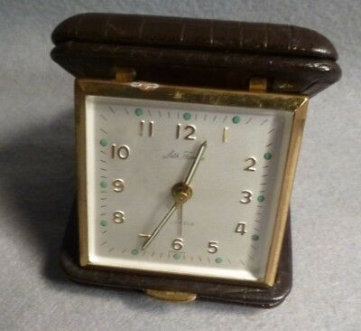 Vintage Seth Thomas Germany made 7 Jewel Travel Alarm Clock Brown Leather Case