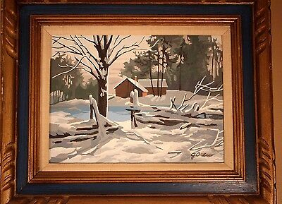 Vintage Mid Century Paint by Number PBN Winter Farm on Pond Framed Signed 21x25