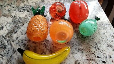 Lenox Glass Fruit in Collapsible Carved Wooden Basket